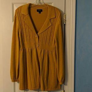 Mustard Yellow Sonoma Button Down Sweater Size M